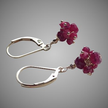 Ruby Cluster of Gems Petite Earrings with Gold Fill Lever Backs