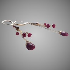 Ruby Gemstone Dangle Earrings with 14k Gold Fill Chain and Lever Backs