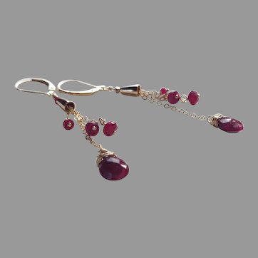 Ruby Gemstone Dangle Earrings with Gold Fill Chain and Lever Backs