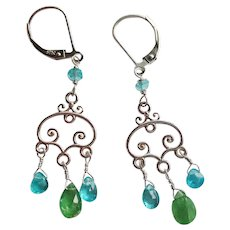Tsavorite and Apatite Gemstone Small Chandelier Earrings with Sterling Silver