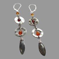 Garnet and Labradorite Gem Bohemian Earrings with Sterling Silver Lever Backs