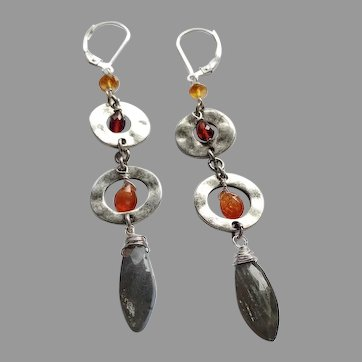 Garnet and Labradorite Gem Bohemian Earrings with Sterling Silver Lever Backs