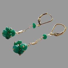 Emerald Gemstone Cluster Earrings with Gold Fill Lever Backs