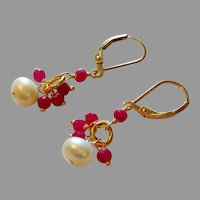 White Cultured Pearl and Ruby Gem Earrings with Gold Fill Lever Backs