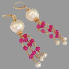 Cultured Pearl and Pink Tourmaline Gemstone Earrings with Gold Fill Lever Backs