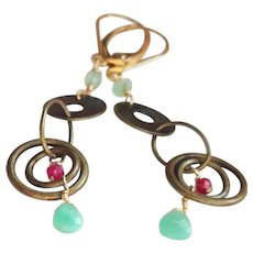 Chrysoprase and Ruby Gemstone Dangle Earrings with Gold Fill Lever Backs