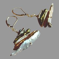 Freshwater Cultured Biwa Pearls Multi-colored Stack Earrings with Sterling Silver