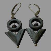 Shiny Hematite Geometric Gem Earrings with Sterling Silver Lever Backs
