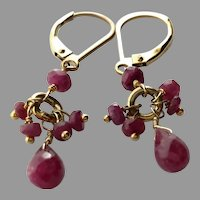 Small Ruby Dangle Earrings with Gold Fill Lever Backs
