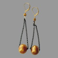 Large Golden-Bronze Cultured Pearl Earrings with Black Chain and Gold Fill Lever Backs