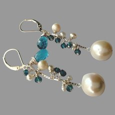 London Blue Topaz and Cultured Pearl Earrings with Sterling Silver Lever Backs