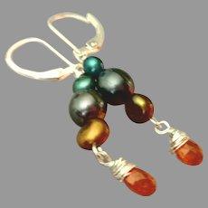 Spessartite Garnet and Cultured Pearls Gemstone Earrings with Sterling Silver