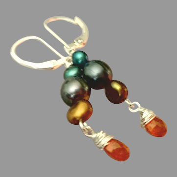 Spessartite Garnet and Cultured Pearls Gemstone Earrings with Sterling Silver
