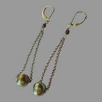 Green Cultured Pearl Earrings on Long Chain with Sterling Silver Lever Backs