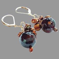 Glowing Deep Red Garnet Gemstone Earrings with 14k Gold Fill Lever Backs