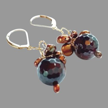 Glowing Deep Red Garnet Gemstone Earrings with 14k Gold Fill Lever Backs