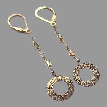 Gold Fill Textured Circle and Chain Earrings with Lever Backs