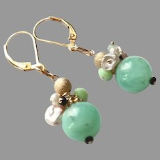 Chrysoprase Ball Gemstone Earrings with Gold Fill Lever Backs
