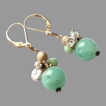 Chrysoprase Ball Gemstone Earrings with Gold Fill Lever Backs