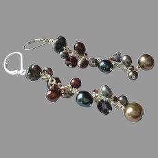 """Luxurious 3"""" Long Gemstone Earrings with Sterling Silver Lever Backs"""