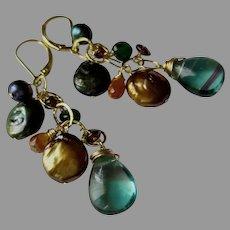 Large Jewel Earrings, Luscious Colors, Gold Fill Lever Backs