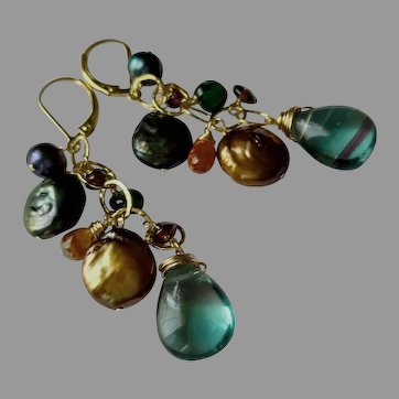 Large Jewel Earrings, Luscious Colors, Gold Fill Lever Backs