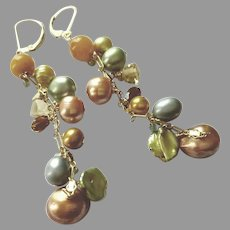 Yellow and Green Long Gemstone Earrings with Gold Fill