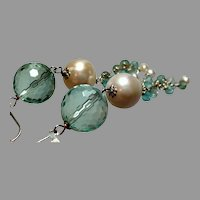 Fluorite Gemstone and Cultured Pearl Diva Earrings with Sterling Silver