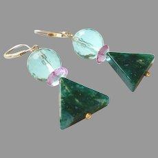 Gemstone Geometric Earrings with Fluorite, Moss Agate, Sterling Silver