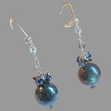 Labradorite and Iolite Gem Earrings with Sterling Silver Lever Backs