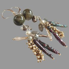 Diva Earrings with Labradorite and Gem Cascade on Sterling Silver Lever Backs