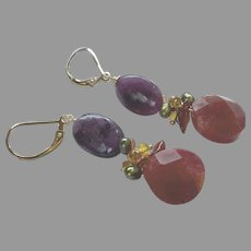Magenta Chalcedony, Purple Charoite Gemstone Earrings with Gold Fill Lever Backs