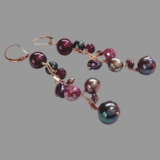 Long Multi-Colored Gemstone Earrings with Gold Fill Lever Backs