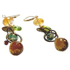 5 Gemstone Cascade Earrings on Brass with Gold Fill Lever Backs