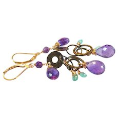 Amethyst Gem Earrings with Brass Links and Gold Fill Lever Backs