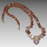 Chocolate Moonstone Gem Necklace with Ametrine Center