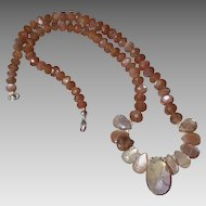 Chocolate Moonstone Gem Necklace with Ametrine Center