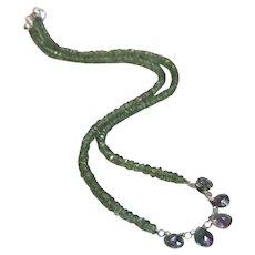 Green Apatite Gemstone Necklace with Mystic Topaz Gem Center