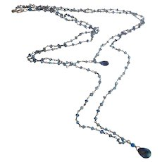 Midnight Blue Sapphire with Iolite Gemstone Chain Double Strand X-Long Necklace