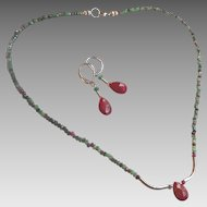 Ruby and Ruby in Zoisite Gem Necklace and Earring Set