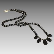 Black Spinel Gemstone Necklace with Sterling Silver