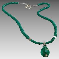 Emerald Gemstone Necklace with Sterling Silver