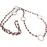 Chain of Rubies, Gemstone Necklace with 14k Gold Fill Circles