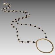 Black Spinel Gem Chain Necklace with 14k Gold Fill Circle
