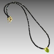 Black Spinel Gemstone Necklace with Peridot