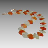 "Exquisite ""Mermaid Cut"" Carnelian and Prehnite Gemstone Necklace with 14k Gold Fill"