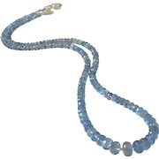Natural Aquamarine Fine Gem Necklace with Sterling Silver, March Birthstone