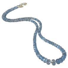Natural Aquamarine Fine Gem Necklace with Sterling Silver