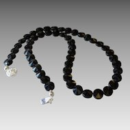 Black Agate Gemstone Necklace with Distinctive Laser Faceted Dome Surface