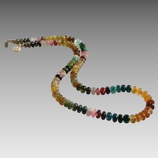 Tourmaline Gemstone Necklace with Rich Natural Color and Very Large Smooth Rondells